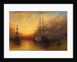 Portsmouth Harbour, HMS Victory and Wellington by J. A. Free