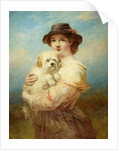 Young Lady with Dog by James John Hill