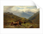 Highland Cattle - A Mountain Road, near Ballachulish, Argyll by Louis Bosworth Hurt