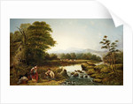 Landscape with Figures by Waterfall by William Widgery