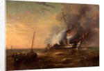 HMS 'Bombay' on Fire at Montevideo, 22 December 1828 by George Kerr