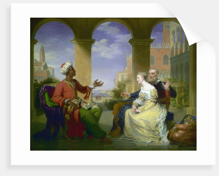 Othello relating the story of is life to Brabantio and Desdemona by Henri Jean-Baptist Victoire Fradelle