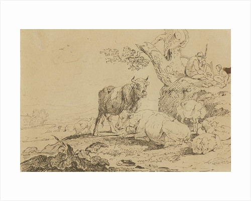 Landscape with cattle and figures by Thomas Peploe Wood