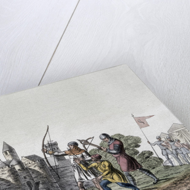 Soldiers and artillery of the 15th century besieging a walled town by Anonymous