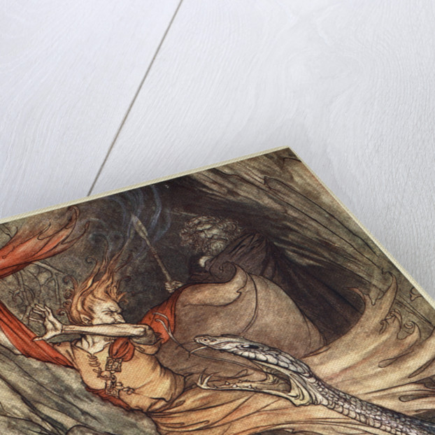 Ohe! Ohe! Horrible dragon, O swallow me not! Spare the life of poor Loge! by Arthur Rackham