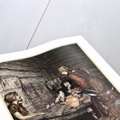 Hunding discovers the likeness between Siegmund and Sieglunde by Arthur Rackham