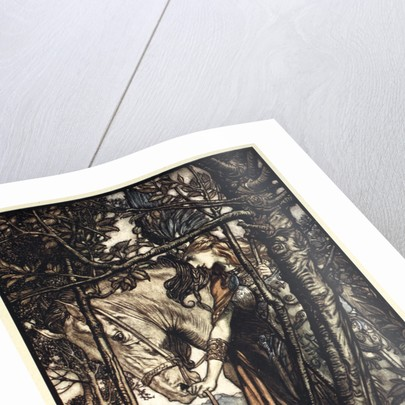 Brunnhilde slowly and silently leads her horse down the path to the cave by Arthur Rackham