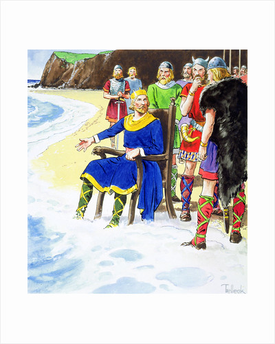 King Canute failing to hold back the waves by Trelleek