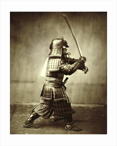 Samurai with raised sword by Felice Beato