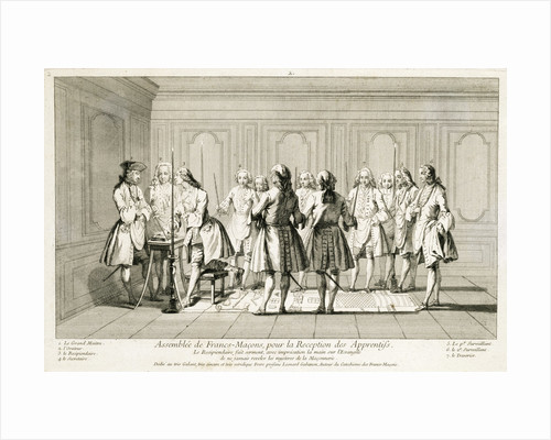 Assembly of Freemasons to initiate an apprentice by Anonymous