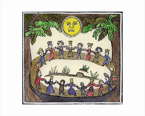 A circle of witches dancing beneath a full Moon by William Linnell