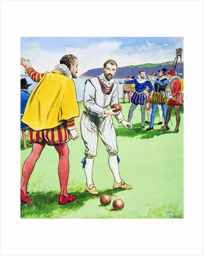 Sir Francis Drake playing bowls on Plymouth Hoe by Trelleek