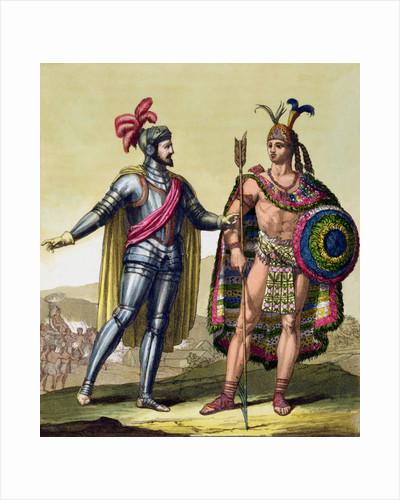 The encounter between Hernando Cortes and Montezuma II by Gallo Gallina