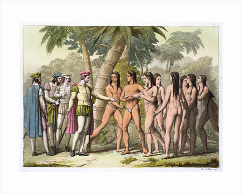 Christopher Coumbus with Hernando Cortes receiving a native American girl as a gift by Gallo Gallina