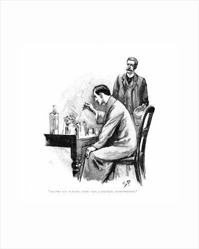 Holmes was working Hard over a Chemical Investigation by Sidney E Paget