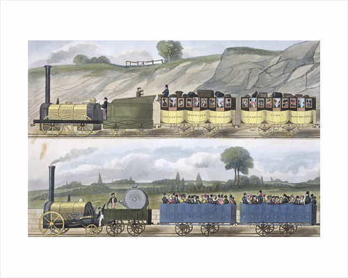 Coloured view of the Liverpool & Manchester Railway by SG Hughes