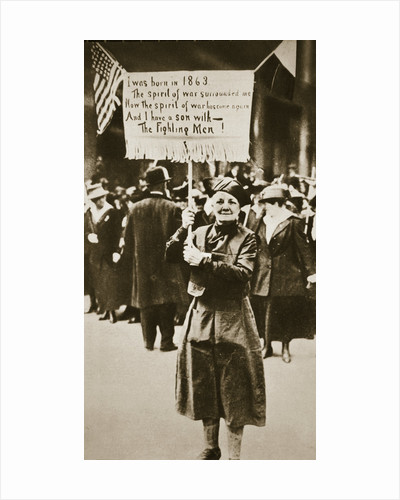 Woman holding a placard in support of the war effort by Anonymous