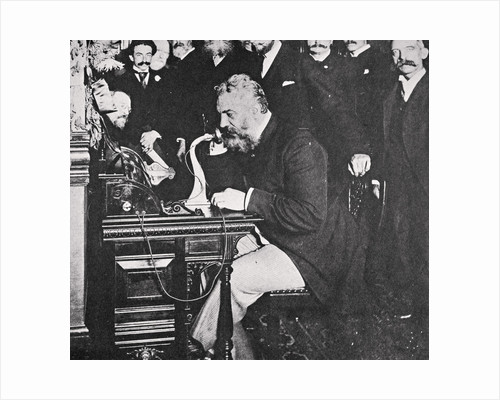 Alexander Graham Bell makes the first telephone call between New York and Chicago by Anonymous