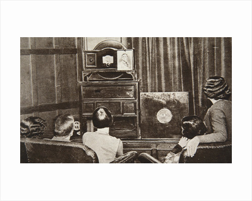 People watching an early television transmission by Anonymous