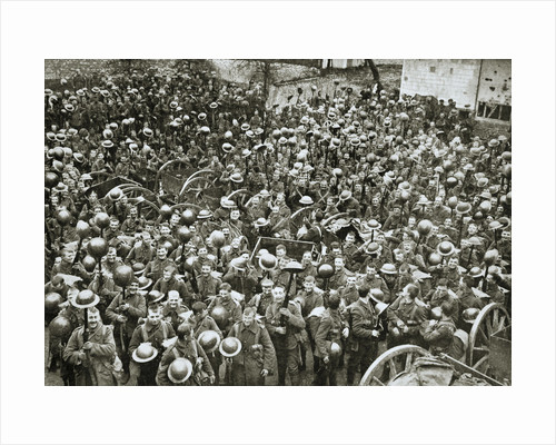 The Loyal North Lancashire Regiment parading for the trenches by Anonymous