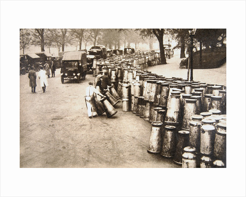 Milk churns being delivered to Hyde Park, London, during the General Strike by Anonymous