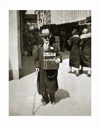 Blind man begging, Great Depression by Anonymous