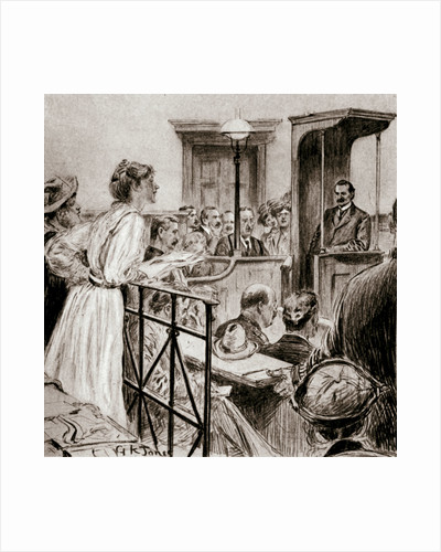 Christabel Pankhurst, British suffragette, questioning Herbert Gladstone in court by GK Jones