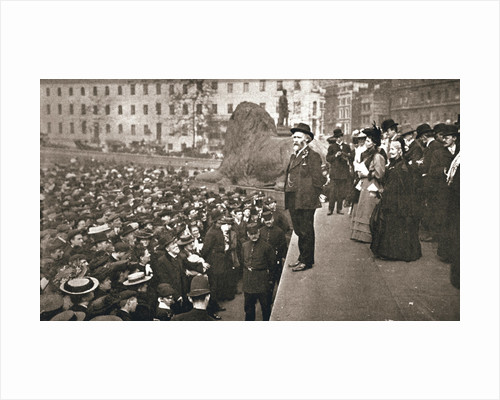 Keir Hardie addressing the first women's suffrage demonstration by Anonymous