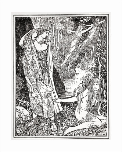 King Athamas steals Nephele's clothes so that she can't float away with her sister by Henry Justice Ford