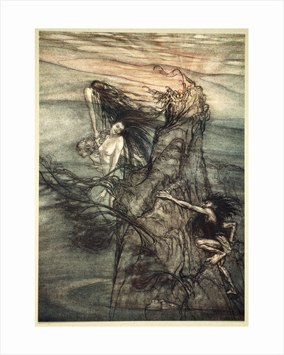Mock away! Mock! The Nibelung makes for your toy! by Arthur Rackham