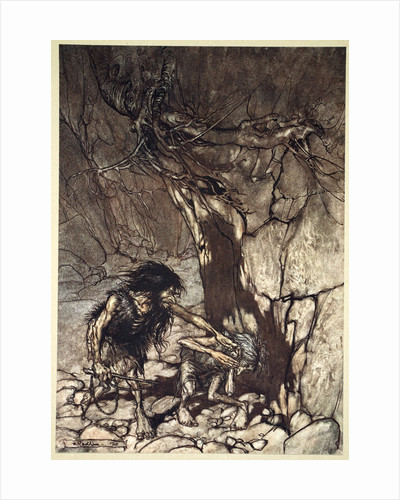 Mime howling 'Ohe! Ohe! Oh! Oh!' by Arthur Rackham