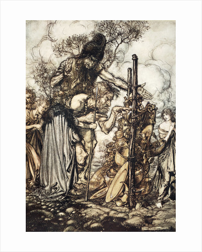 Fafner: 'Hey! Come hither, And stop me this cranny!' by Arthur Rackham