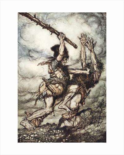 Fafner kills Fasolt by Arthur Rackham