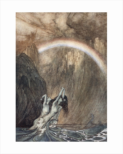 The Rhine's fair children, Bewailing their lost gold, weep by Arthur Rackham
