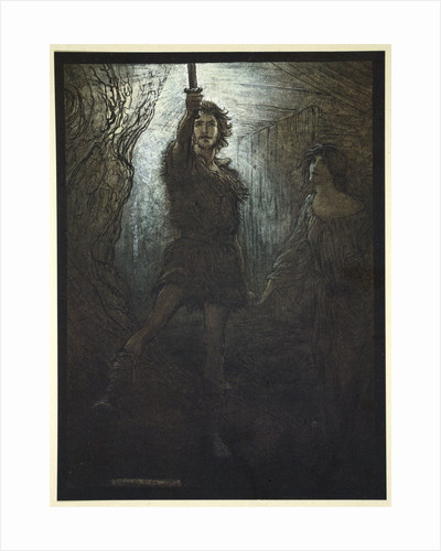 Siegmund the Walsung thou does see! As bride gift he brings thee his sword by Arthur Rackham