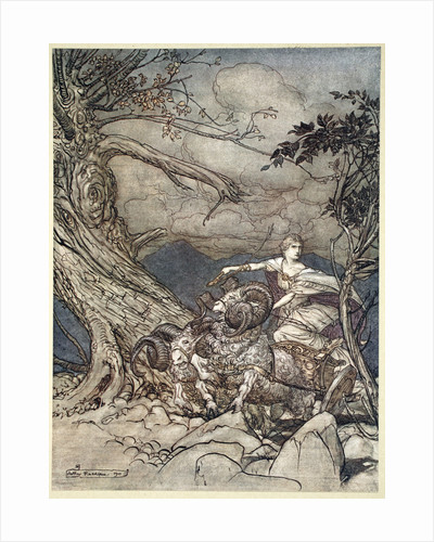 Fricka approaches in anger by Arthur Rackham