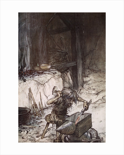 Mime at the anvil by Arthur Rackham