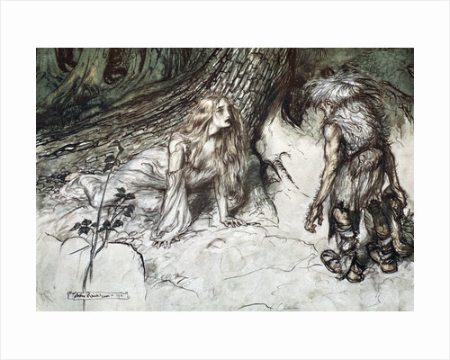 Mime finds the mother of Siegfried in the forest by Arthur Rackham