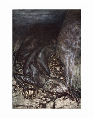 In dragon's form Fafner now watches the hoard by Arthur Rackham