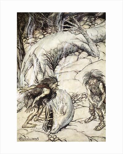 The dwarves quarrelling over the body of Fafner by Arthur Rackham