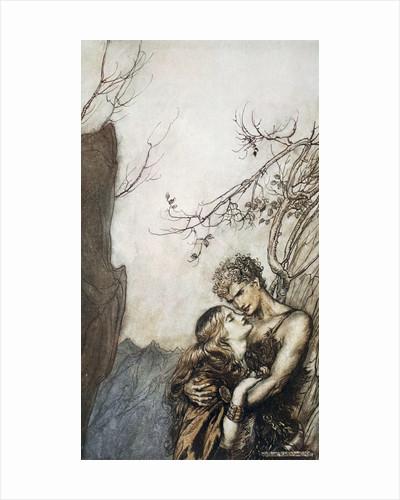 Brunnhilde throws herself into Siegfried's arms by Arthur Rackham