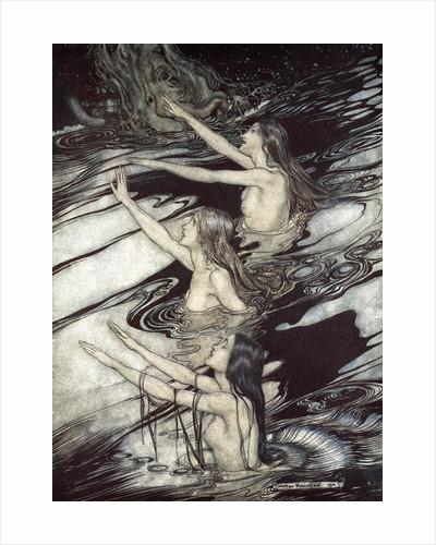 Siegfried! Siegfried! Our warning is true: flee, oh flee from the curse! by Arthur Rackham