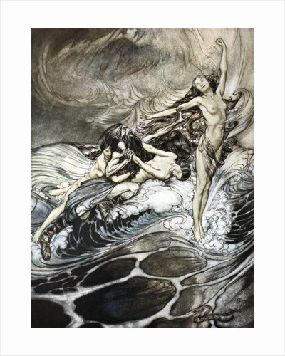 The Rhine Maidens obtain possession of the ring and bear it off in triumph by Arthur Rackham