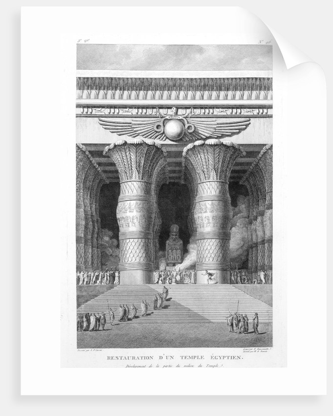 Artist's recreation of a large Egyptian temple by Pierre Nicolas Ransonette