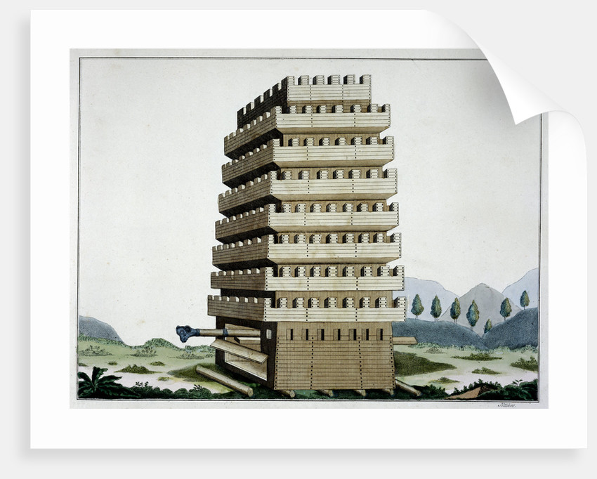 Moveable siege tower with outer galleries and a battering ram by Friedrich Martin von Reibisch