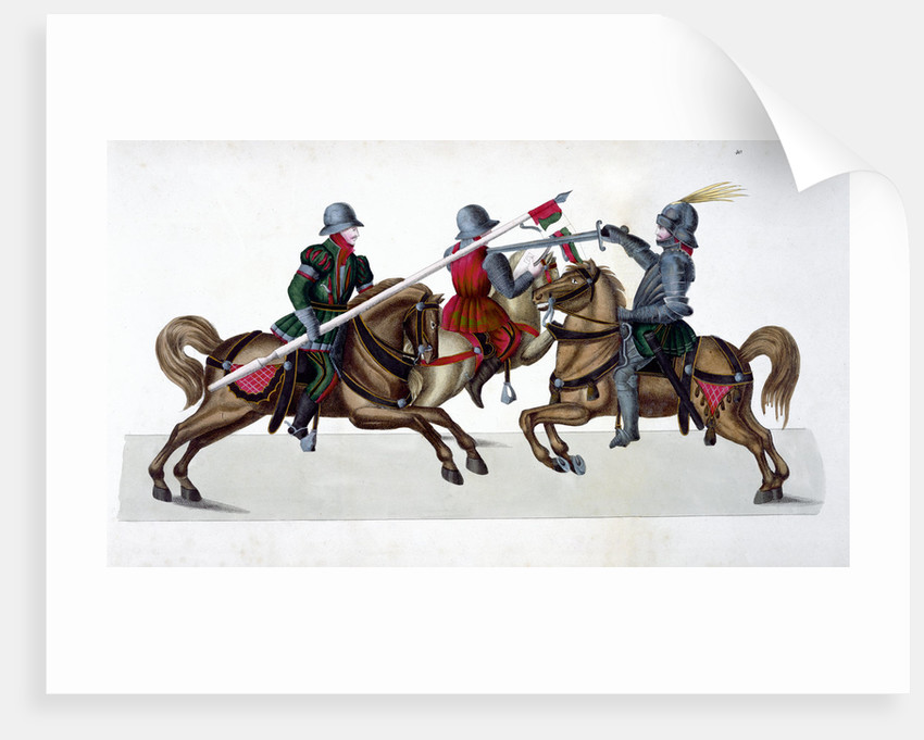 Three knights jousting at a tournament by Anonymous