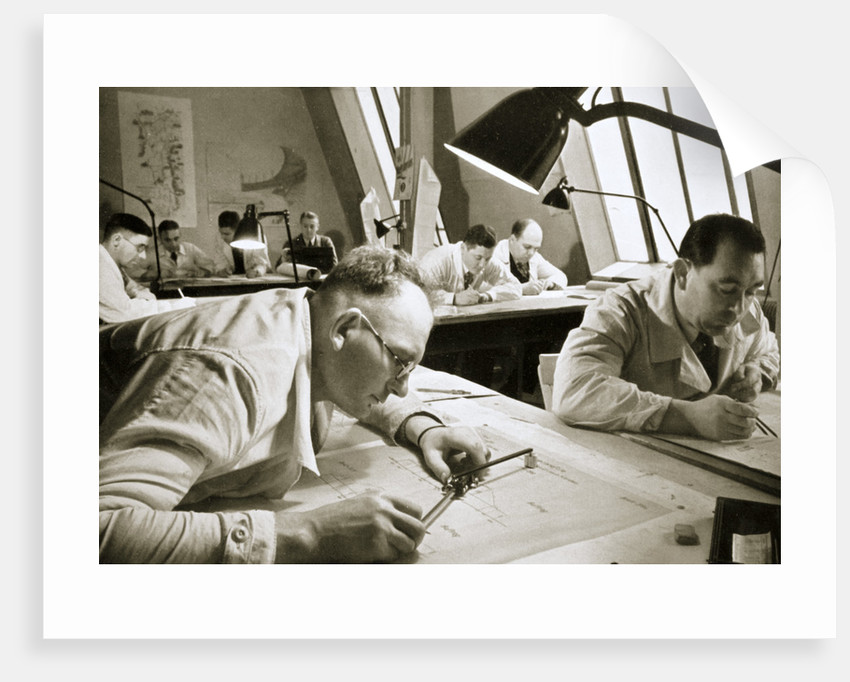 A drawing office scene, where new plans for fresh works are drawn up by Anonymous
