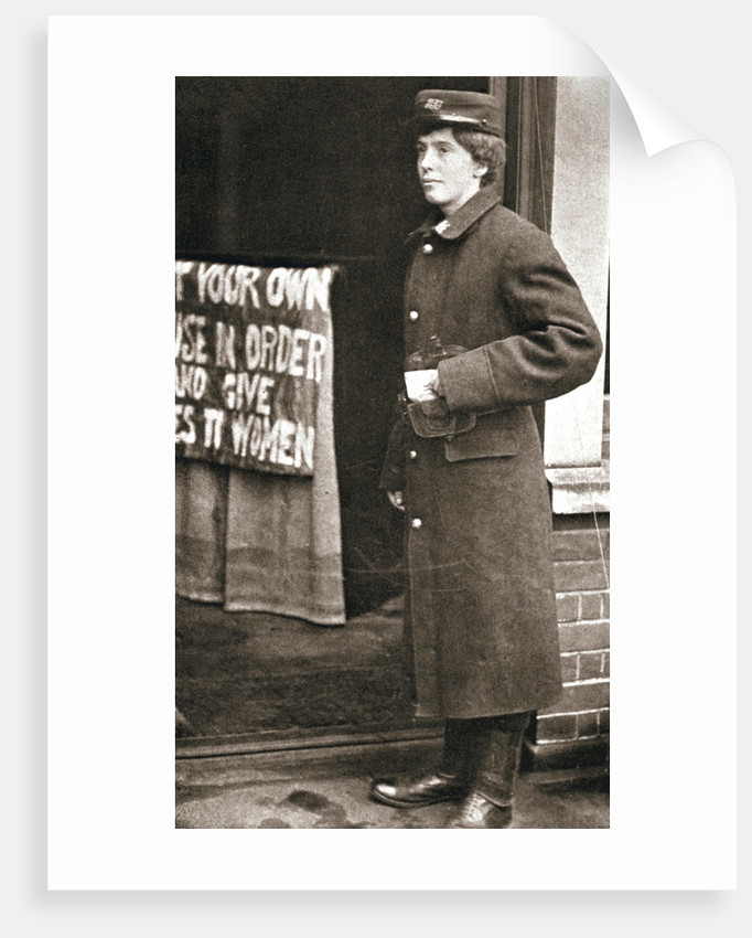 Jessie Kenney, British suffragette, dressed as a telegraph boy by Anonymous