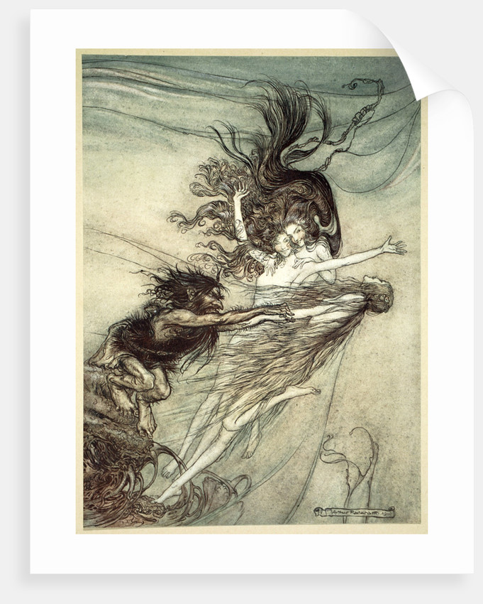 The Rhinemaidens teasing Alberich by Arthur Rackham