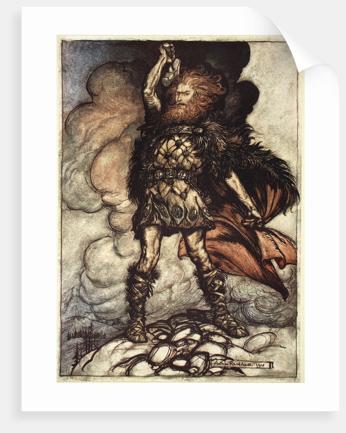 One of the Gods, Donner, summons the mist away by Arthur Rackham
